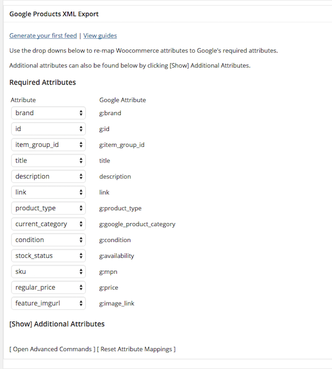 woocommerce mapping attributes