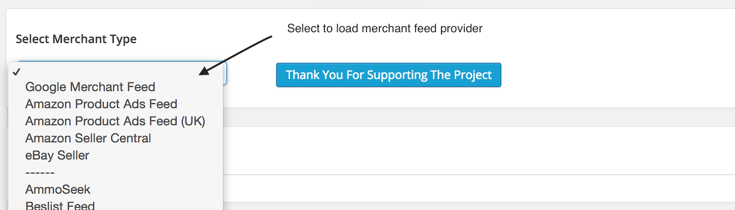 cart feed select merchant