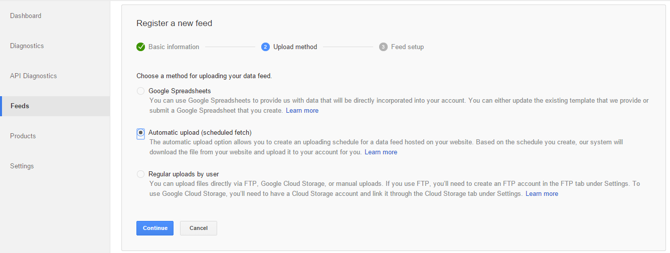 google merchant center automatic feed upload and update