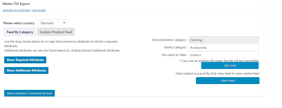 adding woocommerce category to include in miinto product feed