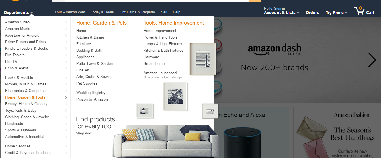 amazon homepage departments