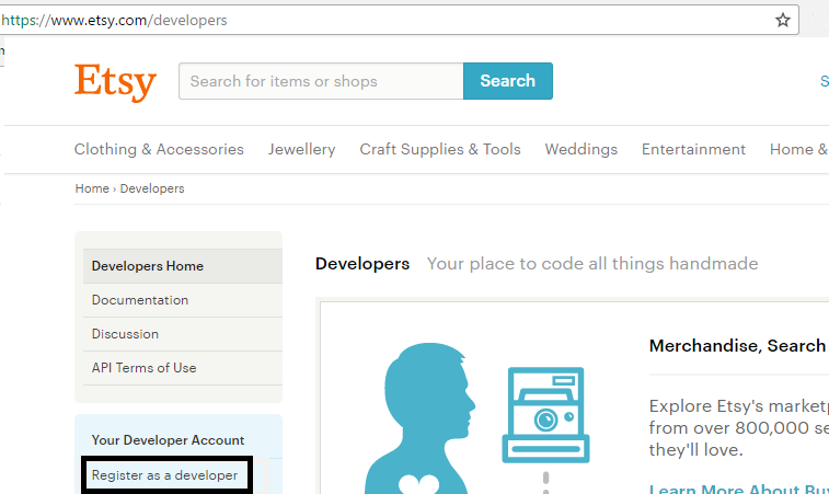 create developer account on etsy