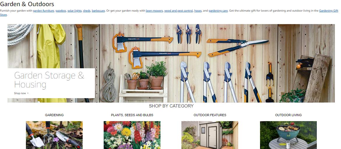 amazon uk garden categories