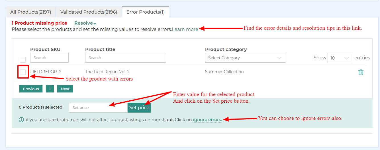 resolving product attribute errors