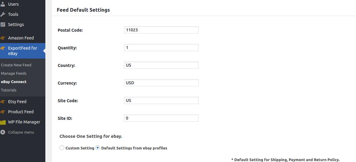 ebay shipping profile