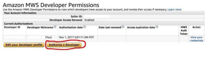 add authorization for amazon developer