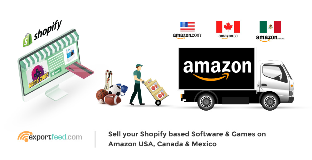 sell shopify software and games on Amazon canada mexico usa