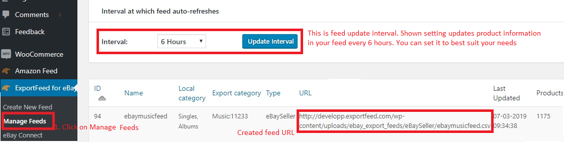 manage feeds page info