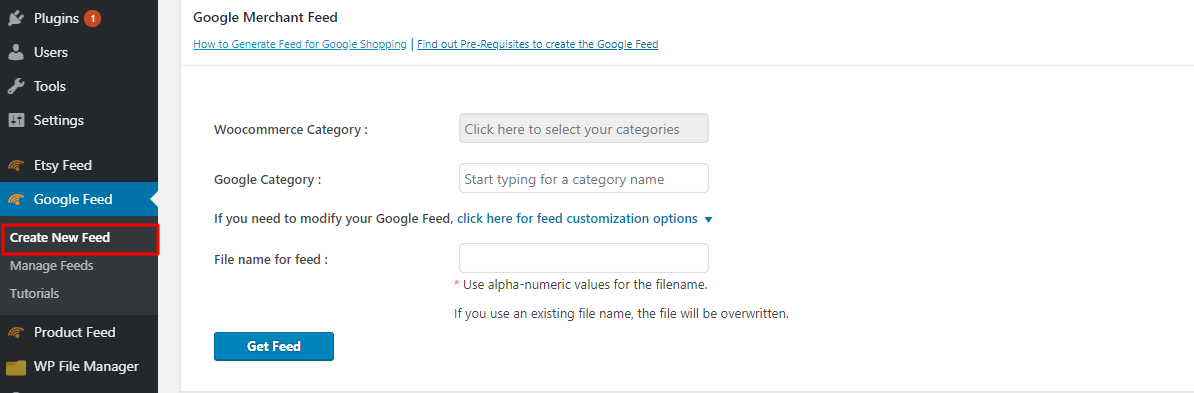 Create new feed for Google
