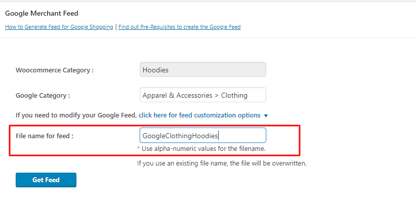 provide a unique filename for your woocommerce google feed