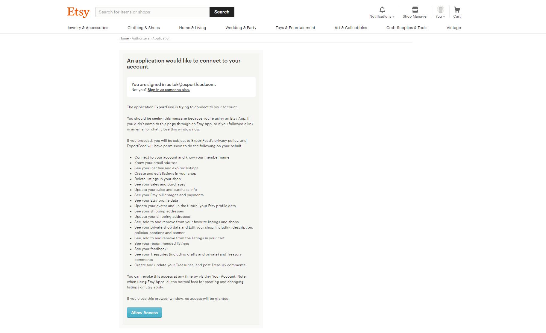 Etsy Authorization page