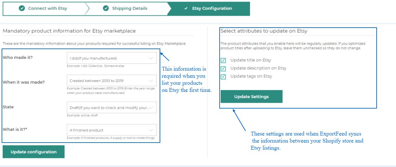 etsy configuration settings