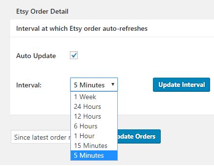 Etsy Order Sync settings