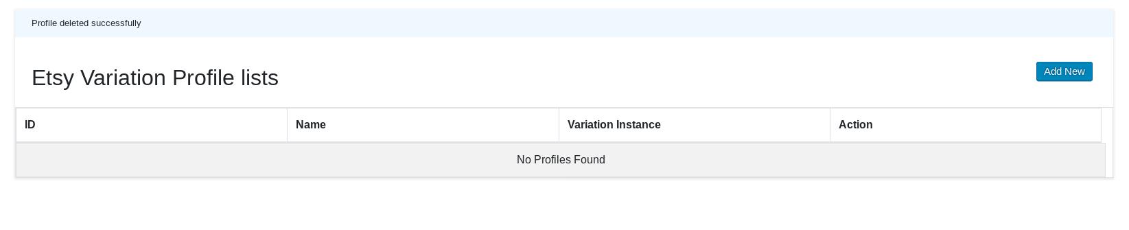 Variation Profile Create New