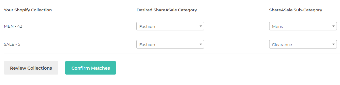 matching categories